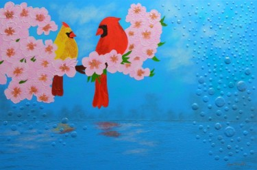 Mozart´s Trill - birds,flowers and bubbles paintin