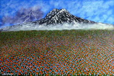 Before The Storm - mountain and flowers landscape