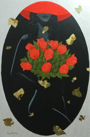 Romance in Red - abstract figurative painting