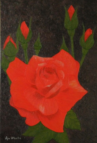 A Twinkle - modern red rose floral painting