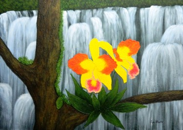 Voice In The Mist - yellow orchid floral painting