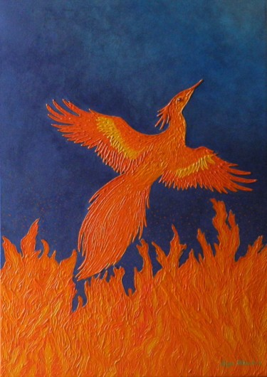 Fire of Creation - recreation of phoenix painting