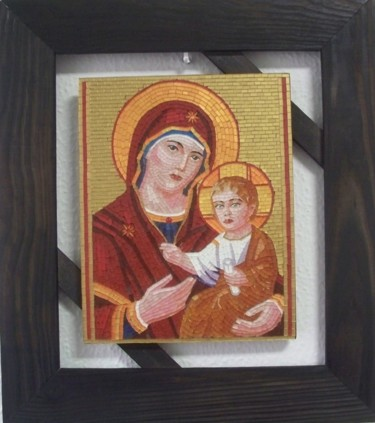 Mother and Child - byzantine glass mosaic Icon