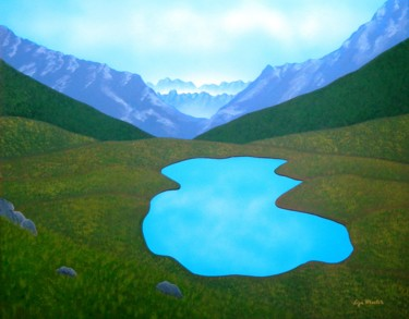 Land of Dreams - mountain lake landscape painting