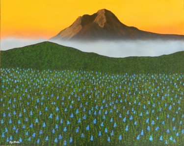 Mystic Morning - landscape floral painting