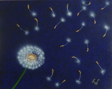 Wishes - floral semi abstract painting
