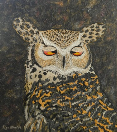 Morning After - horned owl palette knife painting
