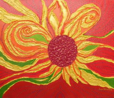Golden Days of Summer - abstract floral painting
