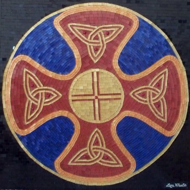 Celtic Shield - mixed media mosaic Celtic art