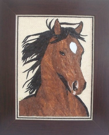 Rowdy - mixed media mosaic equine portrait art