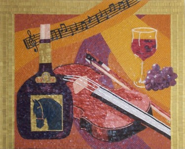 Wine Country - mixed media mosaic art