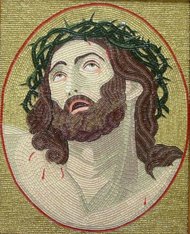 The Call - mixed media mosaic Christ