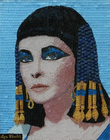 Elizabeth Taylor as Cleopatra - mixed media mosaic