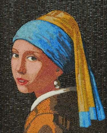 Girl with a Pearl Earring - mixed media mosaic