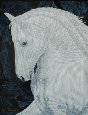 Moonlight - white horse micro mosaic