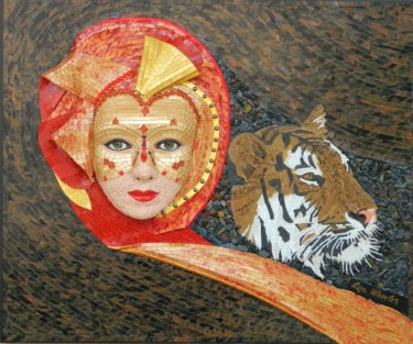 Moods - surreal woman and tiger mixed media art