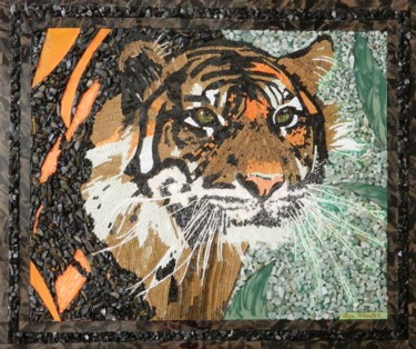Shadows - mixed media Sumatran tiger art