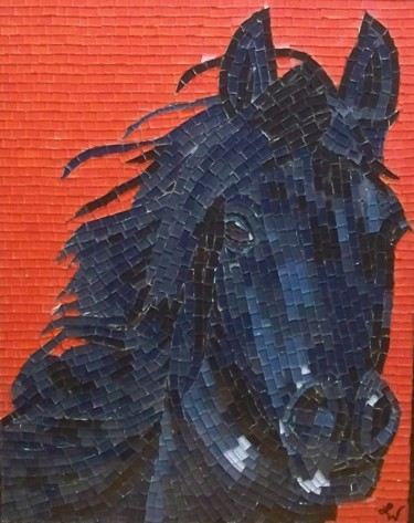 Rascal - black horse mixed media mosaic
