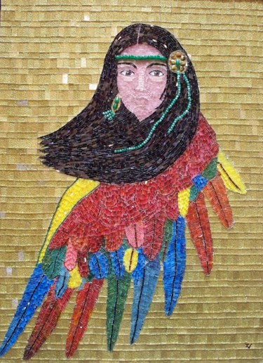 Guacamaya Legend - surreal woman bird mixed media