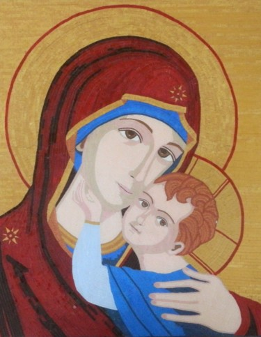 Mother and Child - byzantine glass mosaic art