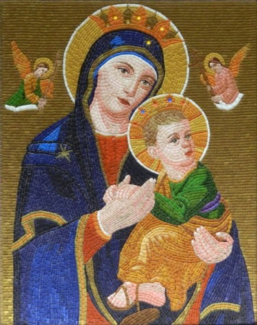 Mother of Perpetual Help - glass micro mosaic art