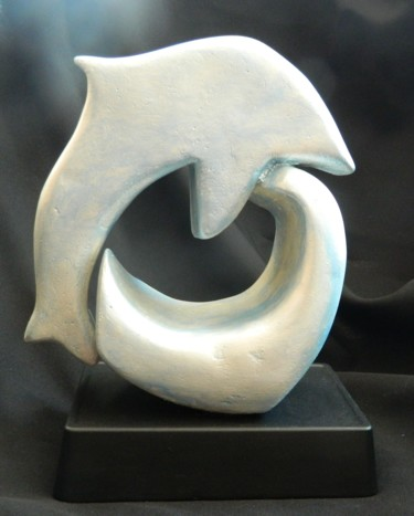 Freedom - handmade, carved abstract dolphin