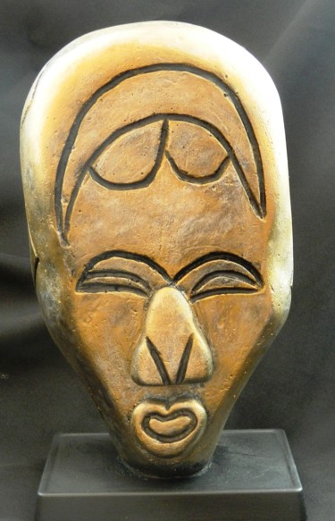 Tikar African Mask - carved abstract sculpture